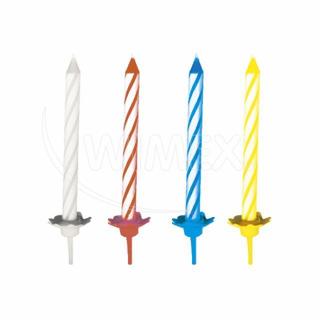 Svíčka narozeninová se stojánkem 60 mm [24 ks]