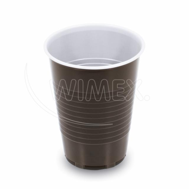 Kávový kelímek hnědo-bílý 0,18 l (PP) [15 ks]