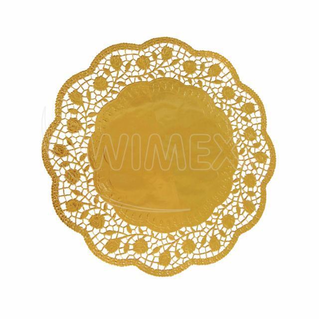 Dekorativní krajka kulatá, zlatá Ø 30 cm [4 ks]