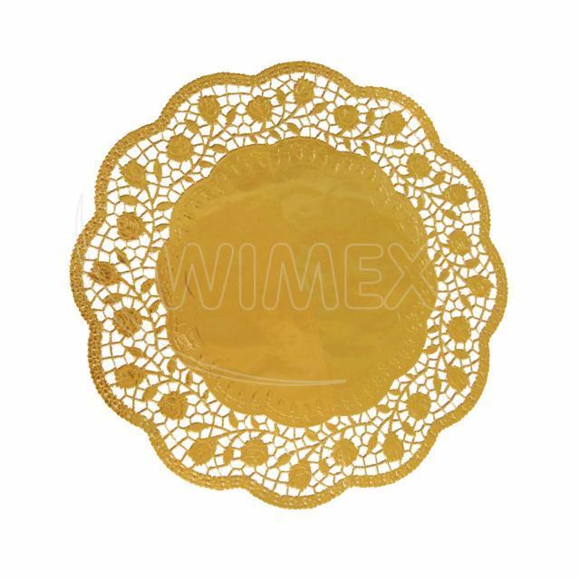 Dekorativní krajka kulatá, zlatá Ø 32 cm [4 ks]
