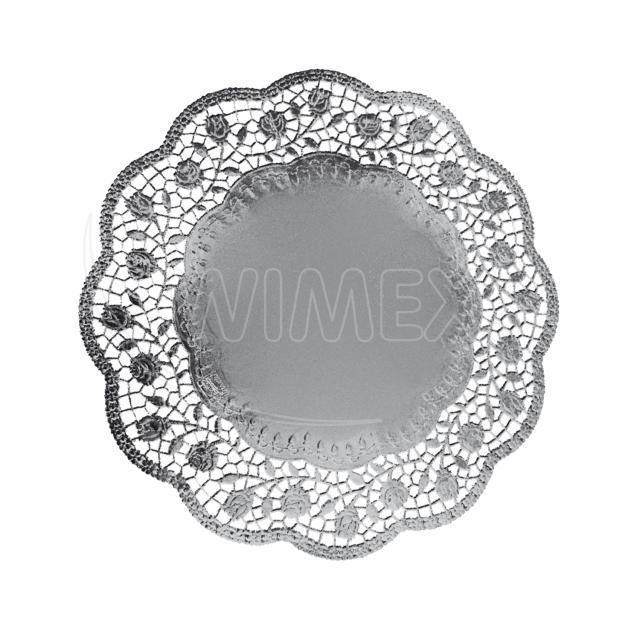Dekorativní krajka kulatá, stříbrná Ø 32 cm [4 ks]
