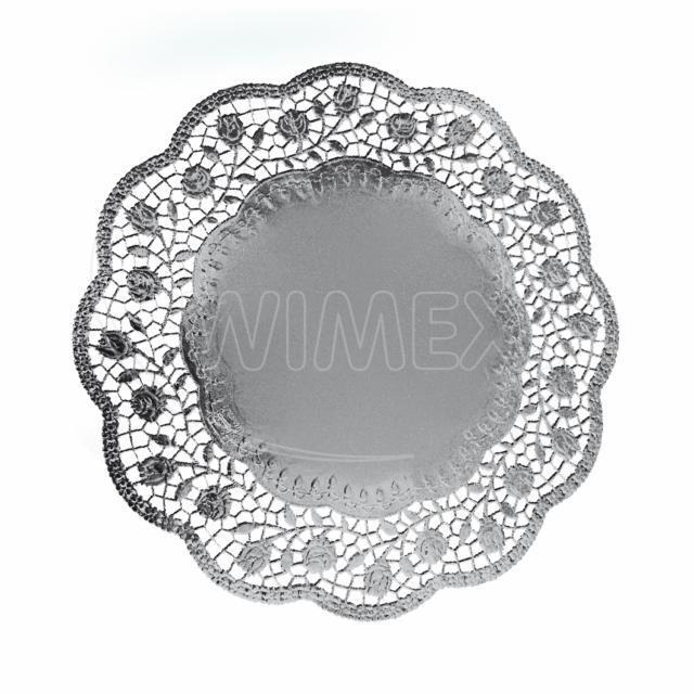 Dekorativní krajka kulatá, stříbrná Ø 36 cm [4 ks]
