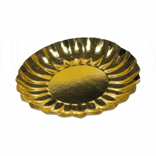 Papírový talíř kulatý Ø 21 cm zlatý [25 ks]