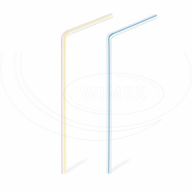 Slámka flexibilní pruhovaná 21 cm, Ø 5 mm [40 ks]