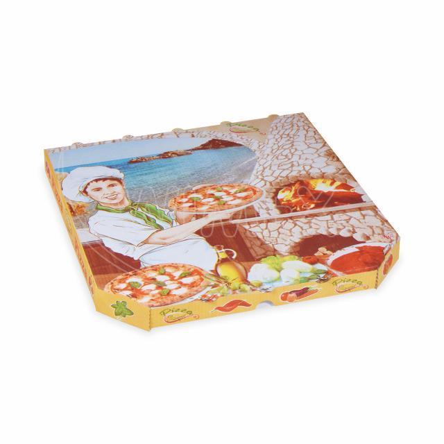 Krabice na pizzu z vlnité lepenky 33 x 33 x 3 cm [100 ks]