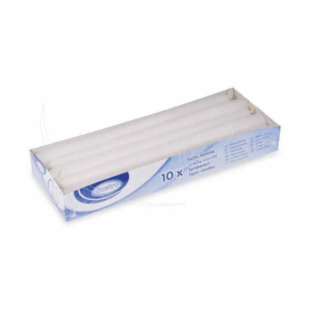 Svíčka kónická 245 mm bílá [10 ks]