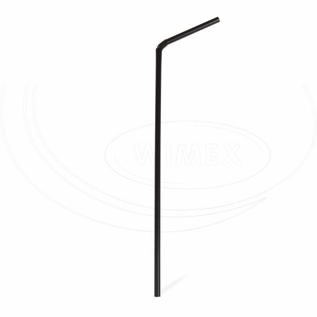 Slámka flexibilní černá 24 cm, Ø 5 mm [250 ks]