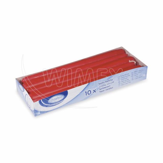 Svíčka kónická 245 mm červená [10 ks]