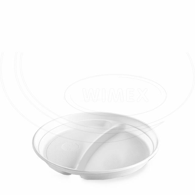 Talíř dělený na 2 porce, bílý (PS) Ø 22 cm [100 ks]