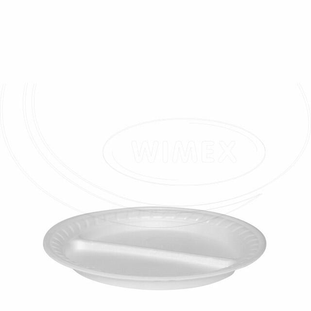 Termo-talíř dělený na 2 porce, bílý Ø 22,5 cm [100 ks]