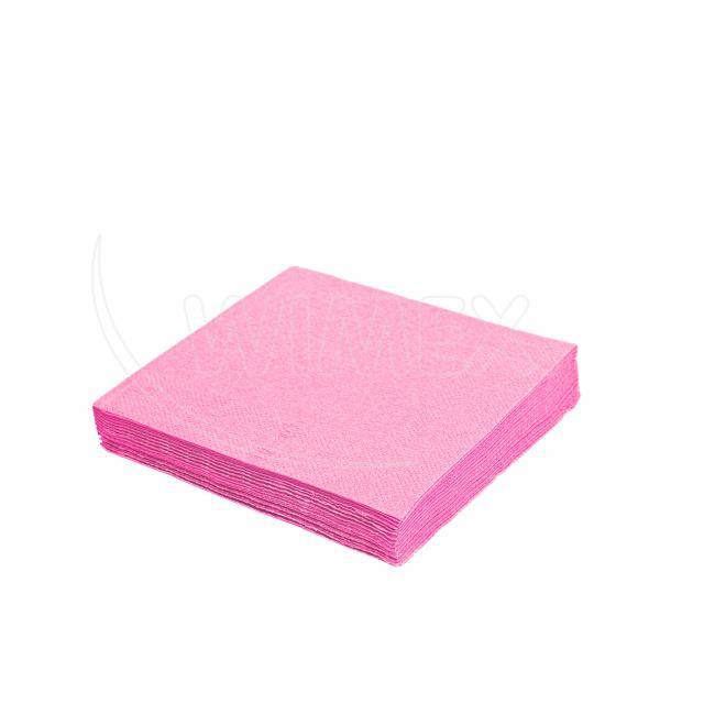 Ubrousek 2vrstvý, 33 x 33 cm růžový [50 ks]