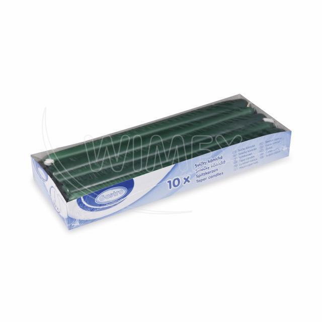 Svíčka kónická 245 mm tmavě zelená [10 ks]