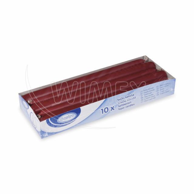Svíčka kónická 245 mm bordová [10 ks]