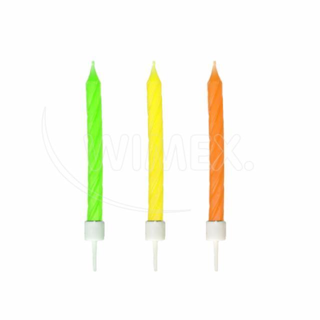 Svíčka narozeninová neon se stojánkem 60 mm [12 ks]