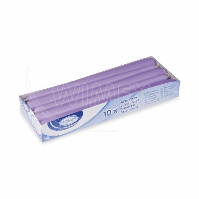 Svíčka kónická 245 mm světle fialová [10 ks]