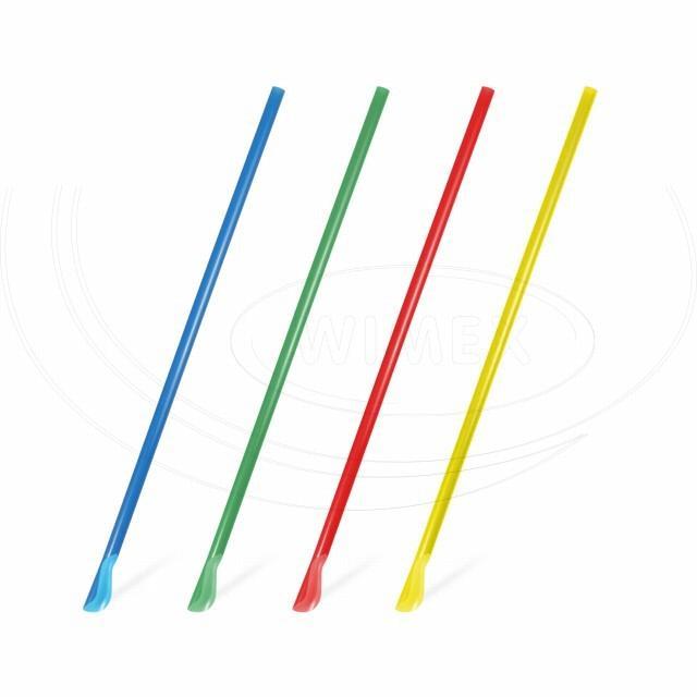 Slámka rovná se lžičkou, barevný mix 24 cm, Ø 6 mm [250 ks]