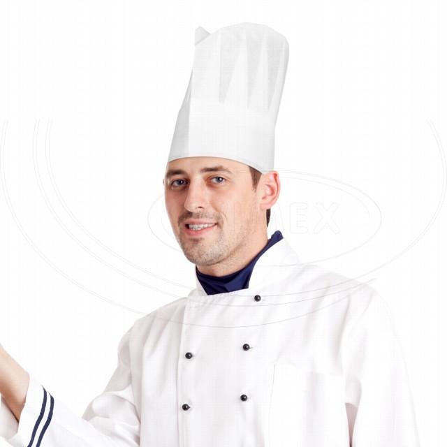 Kuchařská čepice z netkané textilie bílá 24 cm [10 ks]