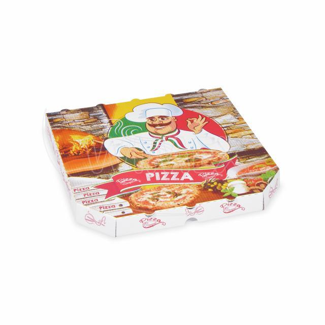 Krabice na pizzu z vlnité lepenky 30 x 30 x 3 cm [100 ks]