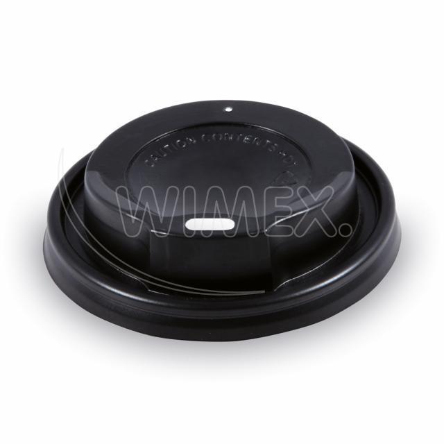 Víčko vypouklé černé pro kelímky Ø 80 mm [100 ks]