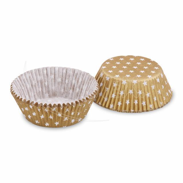 Cukr. košíček zlatý s bílými hvězdičkami Ø 50x30mm [40ks]