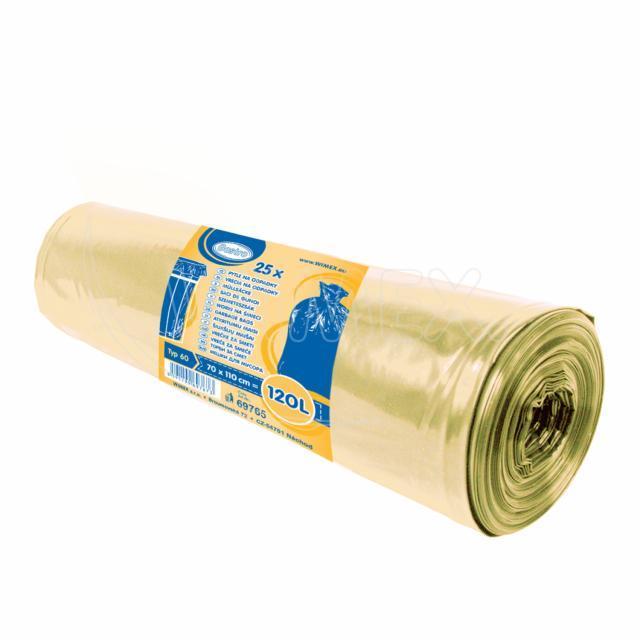 Pytel na odpadky žlutý 70x110cm, 120 l, Typ 60 [25 ks]