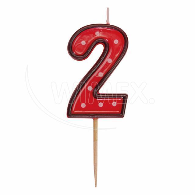 """Svíčka číslová na špejli """"2"""" 50 mm [1 ks]"""