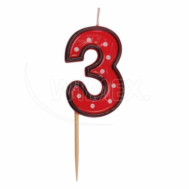 """Svíčka číslová na špejli """"3"""" 50 mm [1 ks]"""