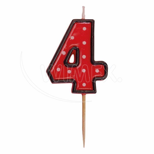 """Svíčka číslová na špejli """"4"""" 50 mm [1 ks]"""