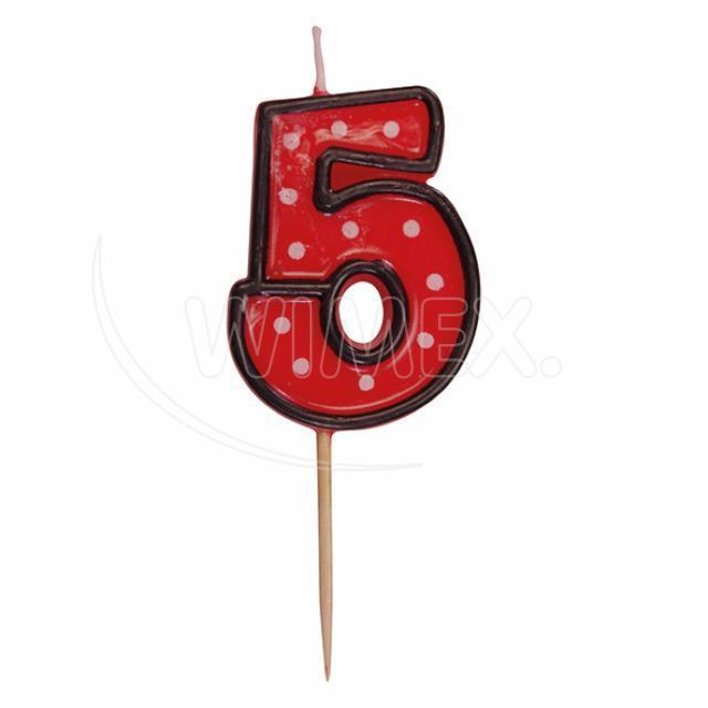 """Svíčka číslová na špejli """"5"""" 50 mm [1 ks]"""