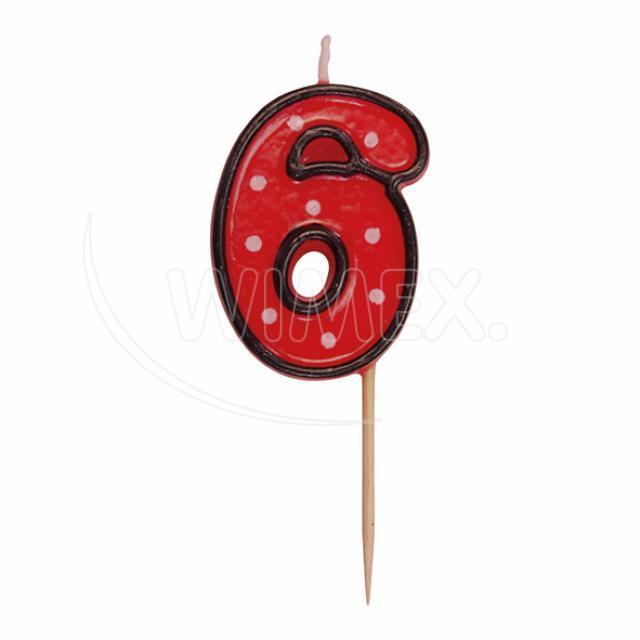 """Svíčka číslová na špejli """"6"""" 50 mm [1 ks]"""