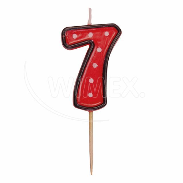 """Svíčka číslová na špejli """"7"""" 50 mm [1 ks]"""