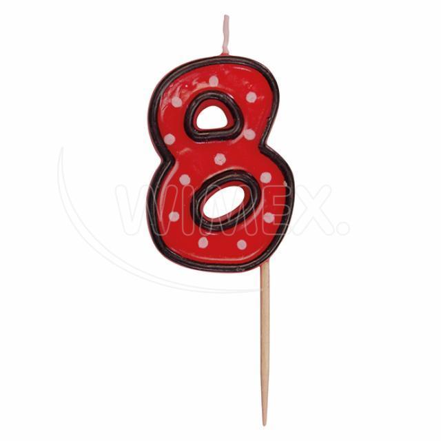 """Svíčka číslová na špejli """"8"""" 50 mm [1 ks]"""