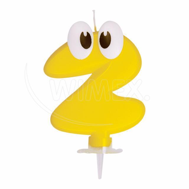 """Svíčka číslová se stojánkem """"2"""" 80 mm [1 ks]"""