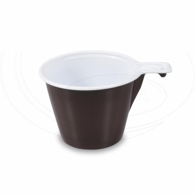 Šálek na kávu hnědo-bílý 0,17 l -PP- [60 ks]