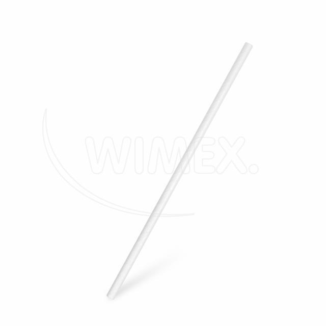 Slámka papírová rovná, bílá 20 cm, Ø 6 mm [100 ks]