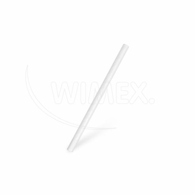 Slámka papírová JUMBO bílá 15 cm, Ø 8 mm [100 ks]
