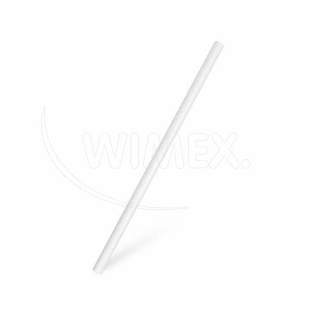 Slámka papírová JUMBO bílá 20 cm, Ø 8 mm [20 ks]
