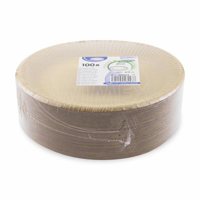 Papírový talíř mělký, hnědý Ø 23 cm, nepromastitelný [100 ks]