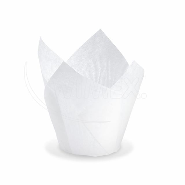 Cukrářský košíček TULIP bílý Ø 5 x 8,5 cm (16 x 16 cm) [100 ks]