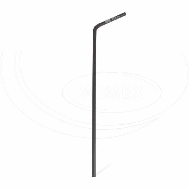Slámka flexibilní černá (PLA) -BIO- 24 cm, Ø 5 mm [250 ks]