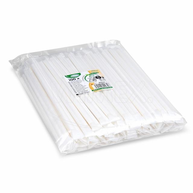 Slámka papírová JUMBO bílá 25cm, Ø 8mm hygienicky balená [100 ks]
