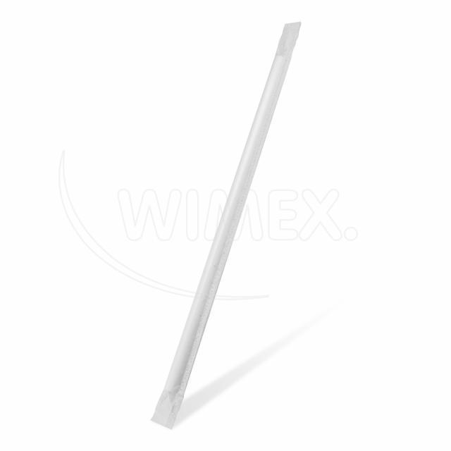 Slámka papírová JUMBO bílá 25 cm, Ø 8 mm hygienicky balená [100 ks]
