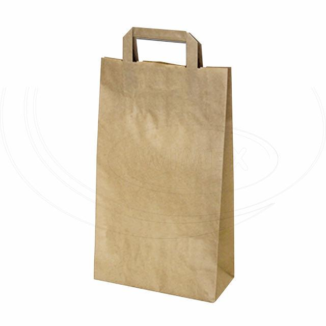 Papírová taška 22+10 x 39 cm hnědá [50 ks]