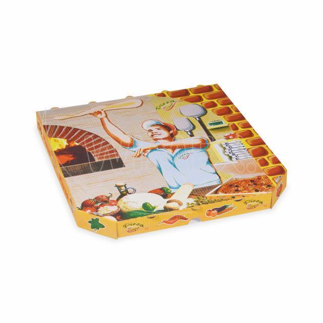 Krabice na pizzu z vlnité lepenky 32 x 32 x 3 cm [100 ks]