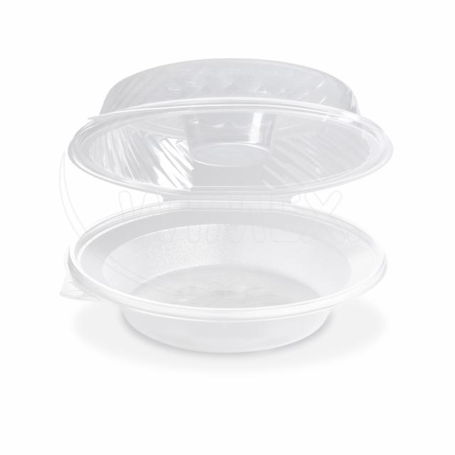 Salátová miska průhledná s víčkem na dresink misku, 1600ml (PP)[25 ks]