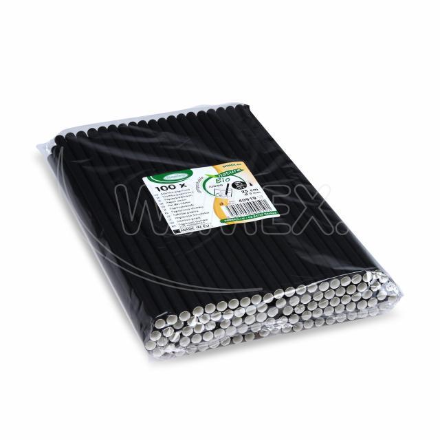Slámka papírová JUMBO černá 25 cm, Ø 8 mm [100 ks]