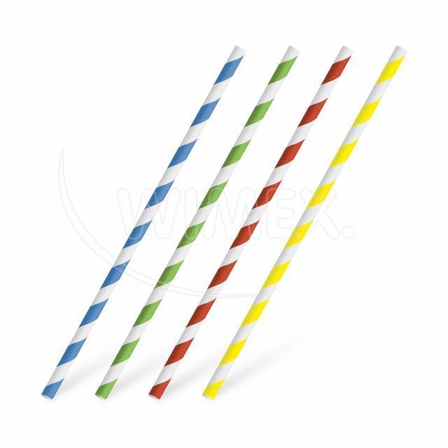 Slámka papírová rovná, barevný mix spirála 20 cm, Ø 6 mm [25 ks]