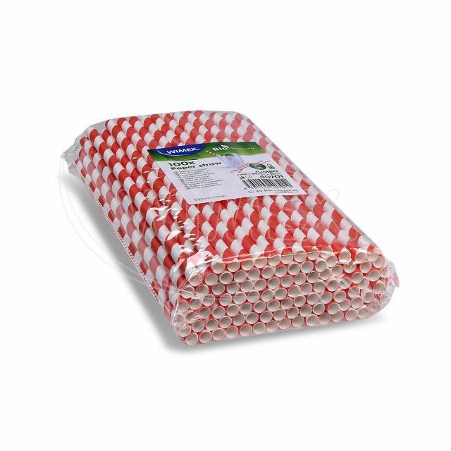 Slámka papírová JUMBO červená spirála 25 cm, Ø 8 mm [100 ks]