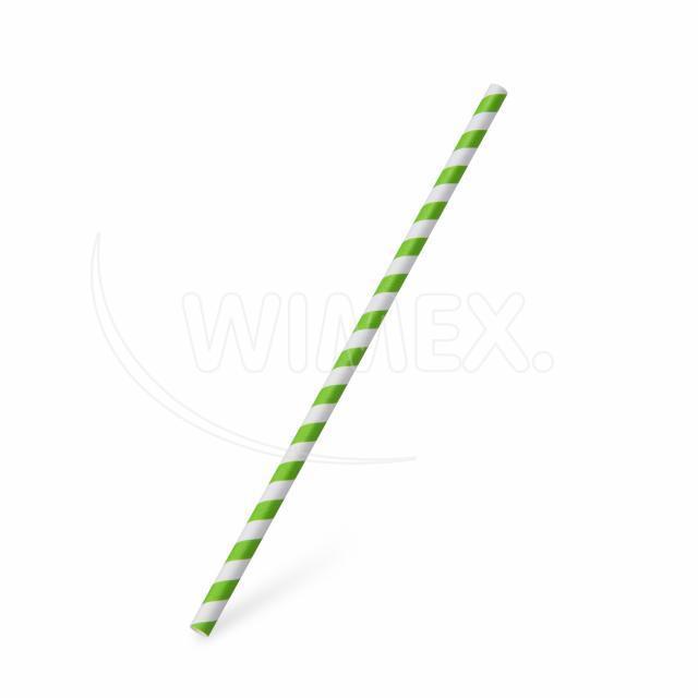 Slámka papírová JUMBO zelená spirála 25 cm, Ø 8 mm [100 ks]