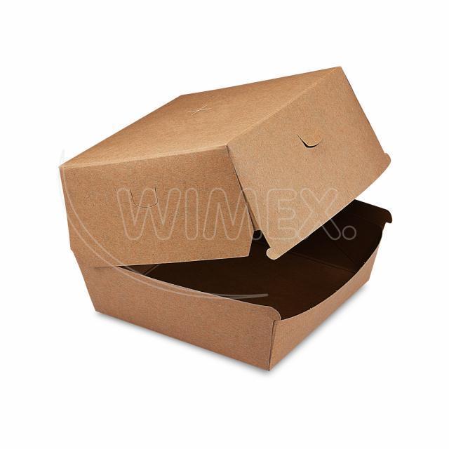Box na hamburger hnědý 13,5 x 13,5 x 10 cm, nepromastitelný [50 ks]